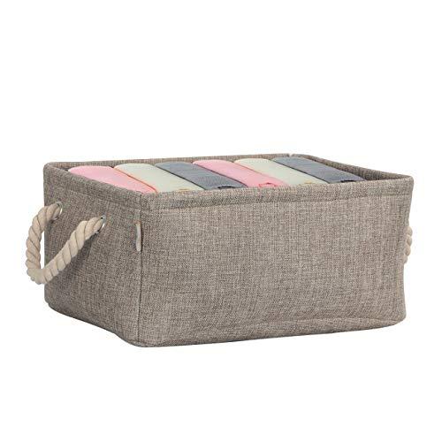 Cosyland 収納ケース 収納ボックス 折りたたみ 天然亜麻布採用 高耐久性 高安全性 取っ手あり 化粧品収納ケース 小物収納ボックス 衣類収納箱