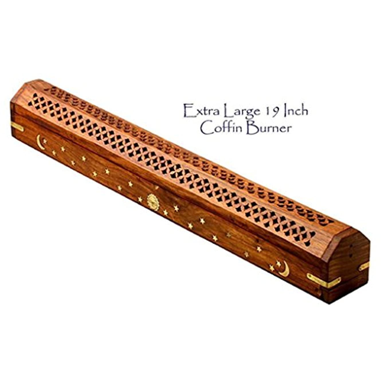 サスペンド腹セラーThe Parfumerie Incense CoFfIn / Burner Extra Large for 19 in。Incense Sticks – 真鍮月&星