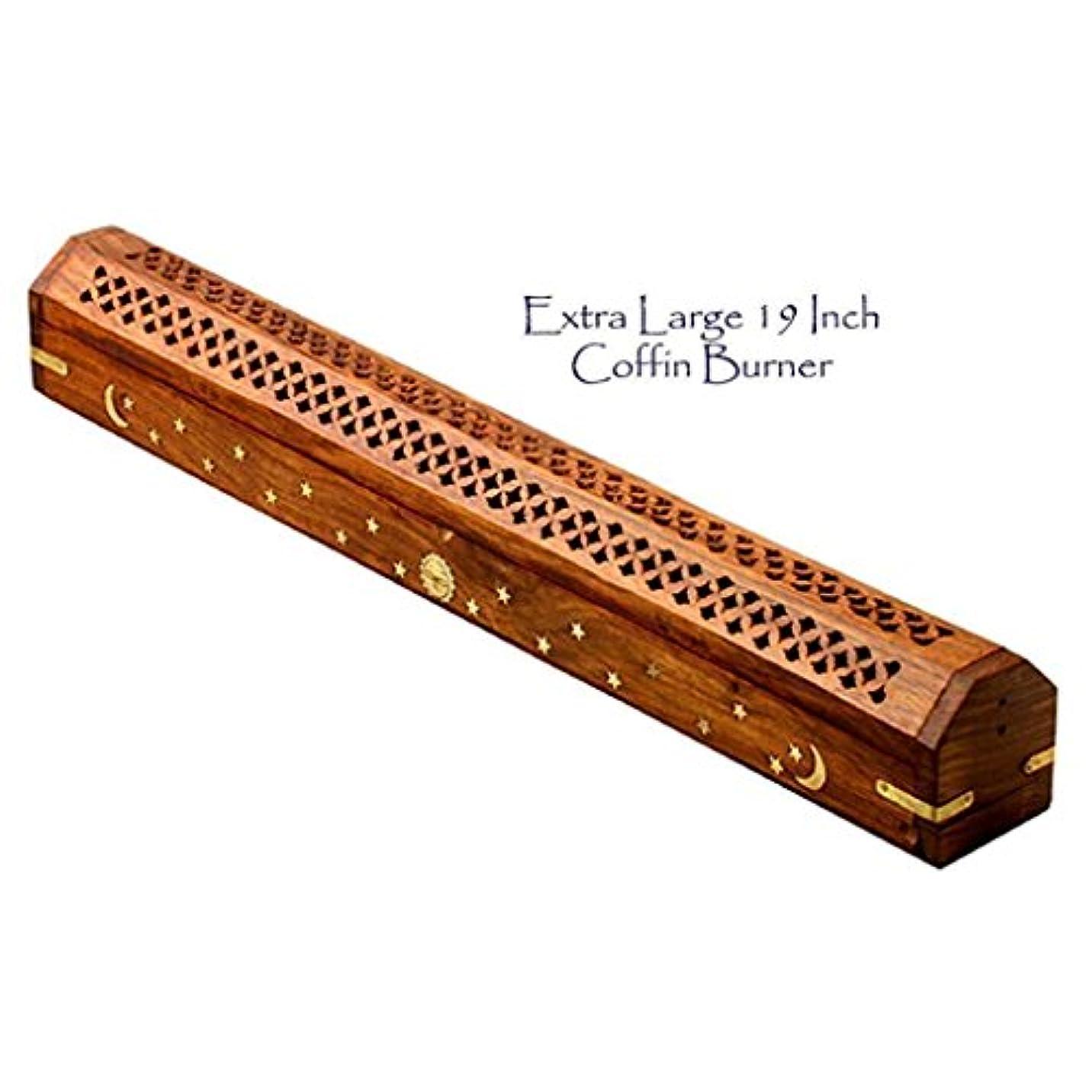 学者伝統付添人The Parfumerie Incense CoFfIn / Burner Extra Large for 19 in。Incense Sticks – 真鍮月&星