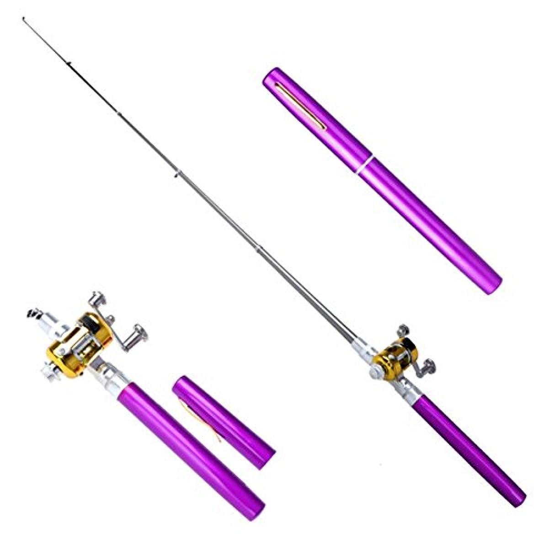 キャンプ完璧なオーラルペン型 釣り竿 ミニ アルミ製 釣り リール ロッド セット コンパクト 携帯 便利