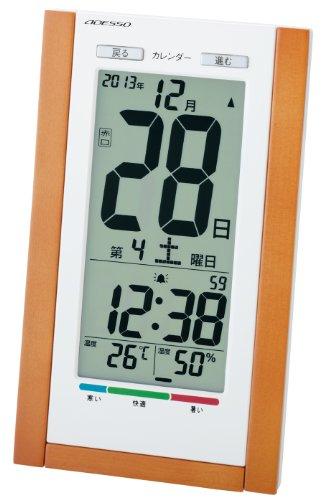 ADESSO(アデッソ) 電波デジタル目覚まし時計 日めくりカレンダー 六曜表示 温度湿度計付き 壁掛け時計兼用 ブラウン TSB-639