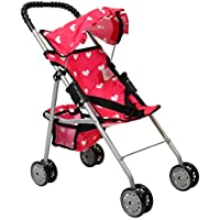The New York Doll Collection My First Doll Stroller with Basket and Heart Design Foldable Doll Stroller, Pink by The New York Doll Collection