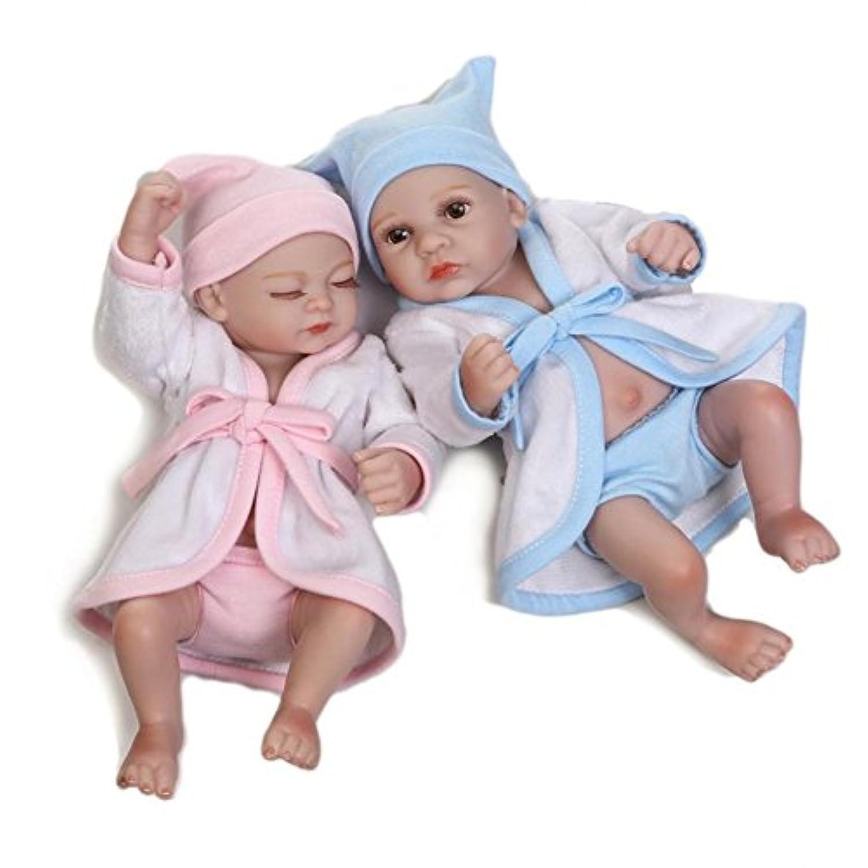 Twins Adorable Bathベビー人形Lovely CoupleペアハンドメイドMini Fullビニールシリコン