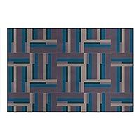 大きなカーペット、滑り止めマット、青と緑のステッチの幾何学模様を備えたシンプルなレトロなリビングルーム,80*120cm