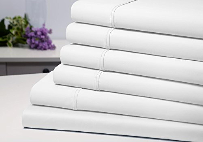 6ピースセット: 1800数余分なソフト環境に優しいオーガニック竹繊維深いポケットベッドシート低刺激性、防しわ性 クイーン