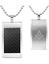 MasonicManメンズステンレススチールペンダントブラックカーボンファイバーとフリーメイソンシンボルチェーン付き