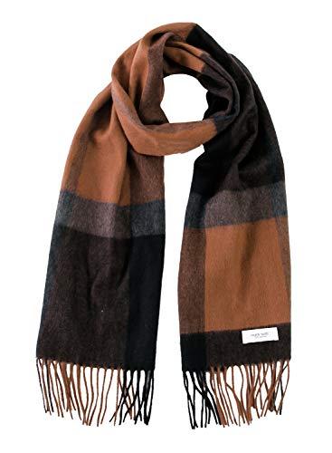 Brown × Black チェック柄 カシミア マフラー レディース フリンジ カシミヤ ストール 大判 厚手 100 女性 ロング B1311B-13