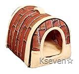 【ケーセブン】Kseven☆ ペットハウス 犬 猫 室内用 ふわふわ ドーム型 可愛い 折り畳み式 (S, レンガ柄)