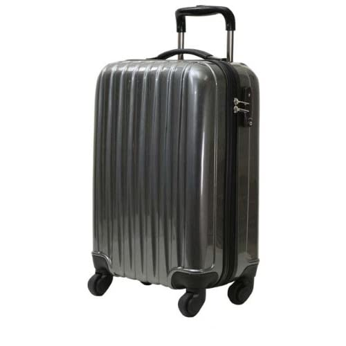 初心者さんにオススメのキャリーケース 52cm(2~3泊用) ガンメタ ☆拡張機能付き 軽量のファスナー開閉式キャリーバッグ