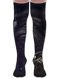 ソフト 65CM 靴下 オーバーニー ハイソックス ロングニーハイ 口ゴムゆったり ビジネスソックス パグ パピー スペース 3Dプリント 防寒 フットサポート付き 通学 美脚 脚長効果抜群 防臭