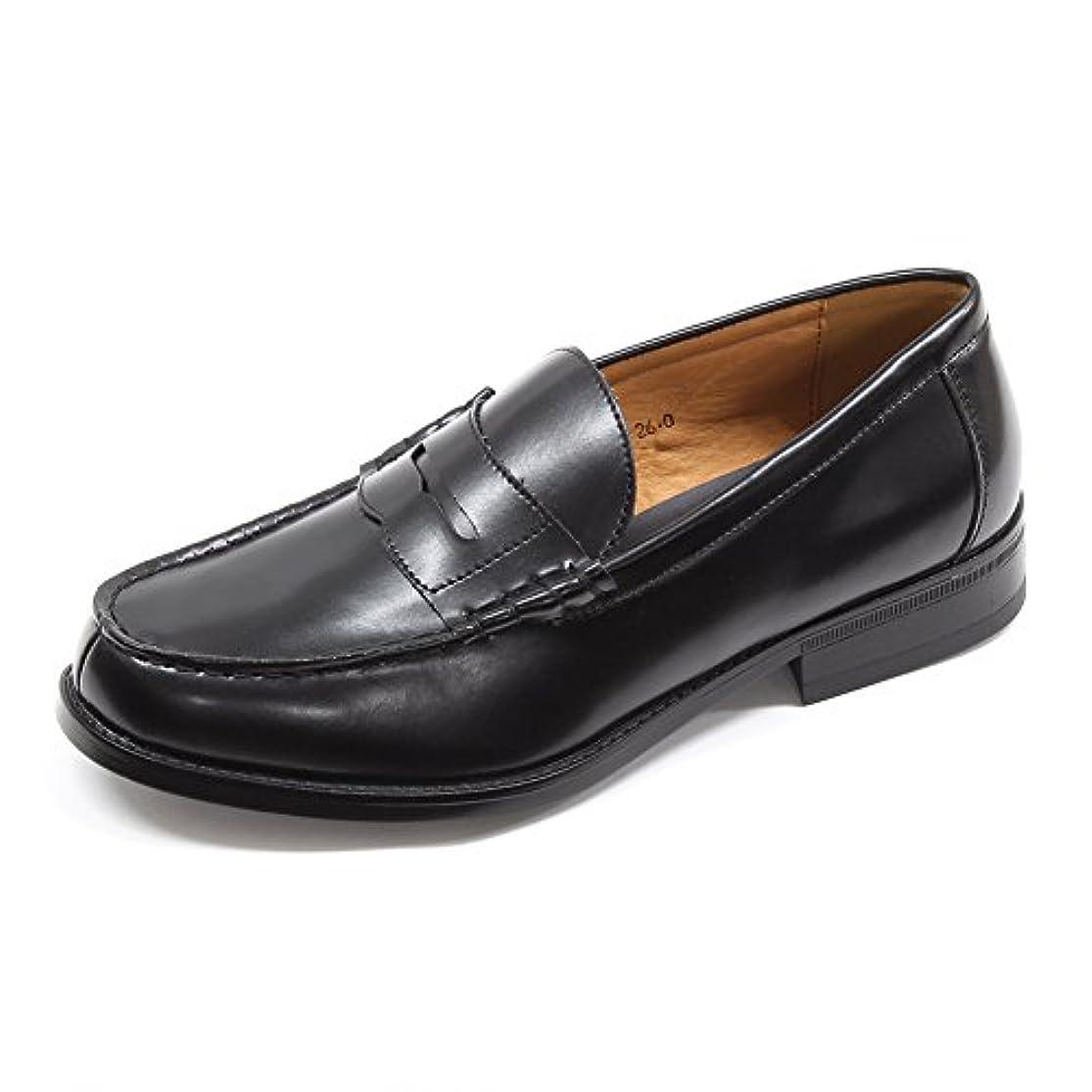 安定しました工業用なしで[エスメイク]SMAKE 学生靴 ローファー メンズ 学生 男子 黒 ブラック