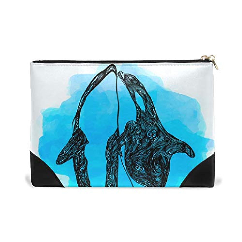 AOMOKI ポーチ 小物ケース 化粧ポーチ 収納 本革 贈り物 プレゼント クジラ 鯨 ブルー かわいい
