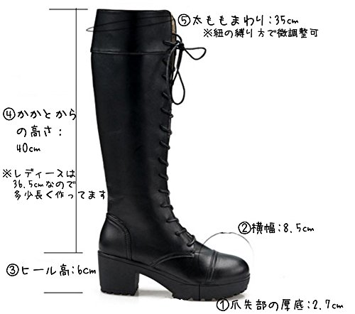 Mille Ti Rana 編み上げ レースアップ 厚底 ロング ブーツ 黒 26 26.5 27 27.5 大きいサイズ 収納袋 2点セット 27cm