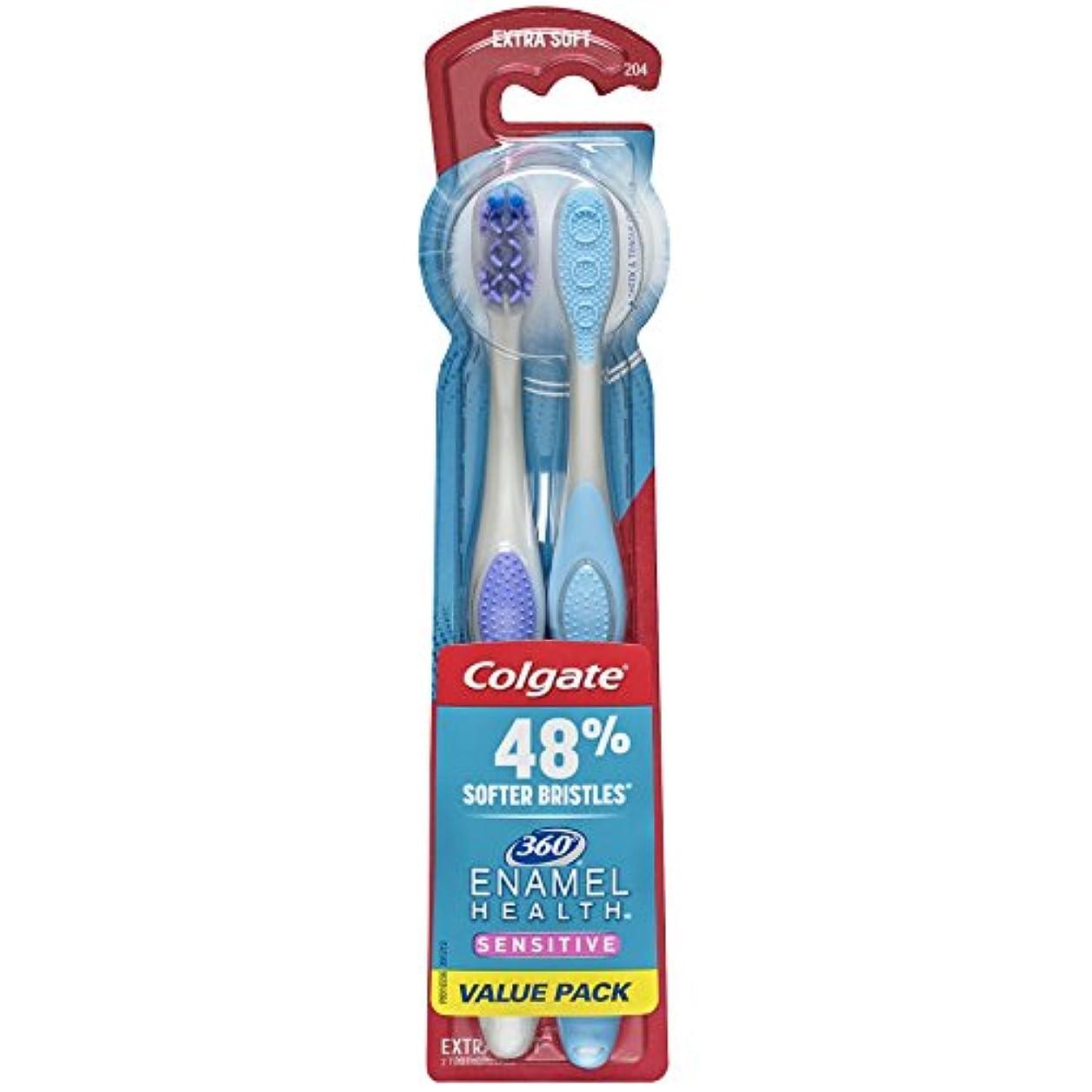 Colgate エナメル健康に敏感な歯ブラシ、エクストラソフト、2カラット