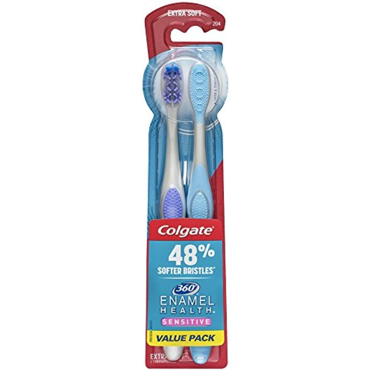 第架空の引っ張るColgate エナメル健康に敏感な歯ブラシ、エクストラソフト、2カラット