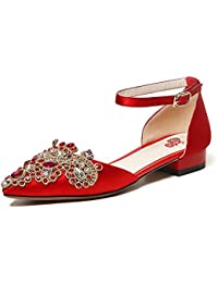 女性の靴春、夏、秋妊娠中の女性ブライダルシューズブライドメイドダイヤモンドフラット尖った結婚式の靴のprom一緒にクリスタルフェアリーシングルシューズ (色 : 赤, サイズ さいず : UK6/EU39/CN39)