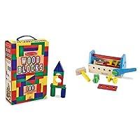 Melissa & Doug Tool Kit & 100 Wood Blocks Set Bundle [並行輸入品]