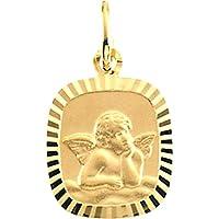 14K黄色ゴールド天使メダル、長方形ダイヤモンドカットフレーム