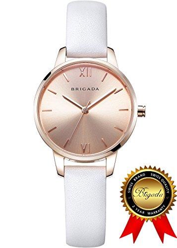 b69b12640327 ... BRIGADA 高級 時計 レディース ブランド 人気、ホワイト 可愛い ファッション 腕時計 レディース ブランド 人気、自分