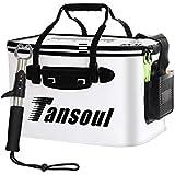Tansoul バッカン 釣り バケツ 折りたたみ 40cm フィッシュグリップ付き 魚掴み器 釣り具 アウトドアに最適 ホワイト 1年間製品保証
