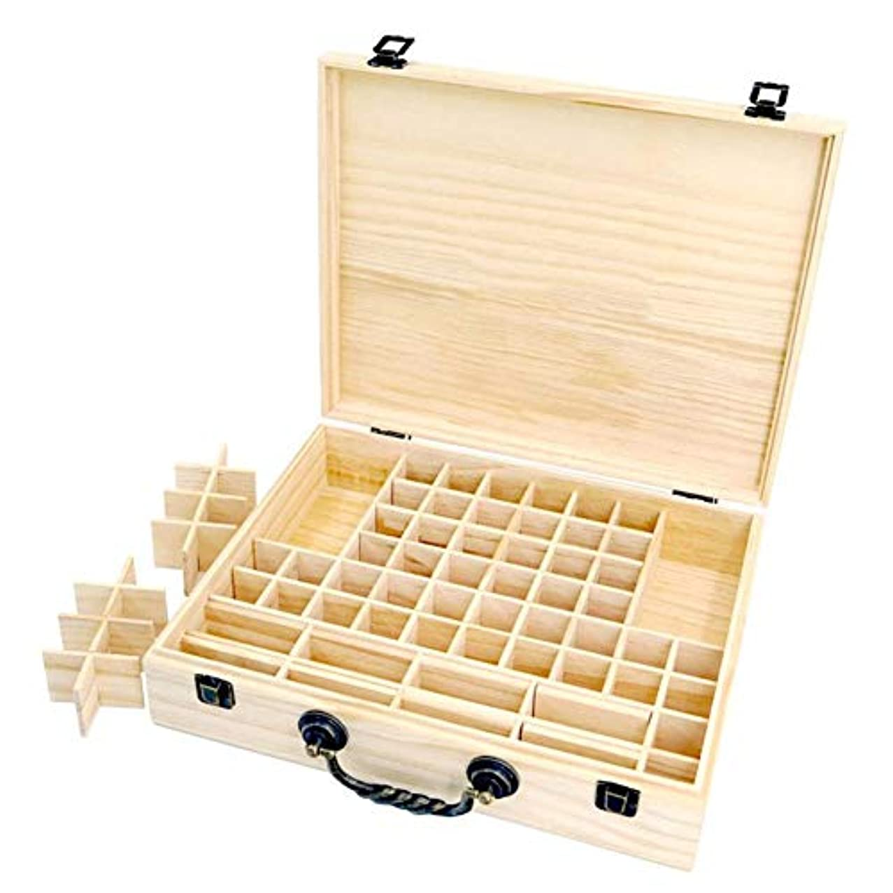 同性愛者不調和大工エッセンシャルオイル収納ボックス 収納ケース 保存ボックス パイン製 取り外し可能なメッシュ 70グリッド 持ち運び便利 junexi