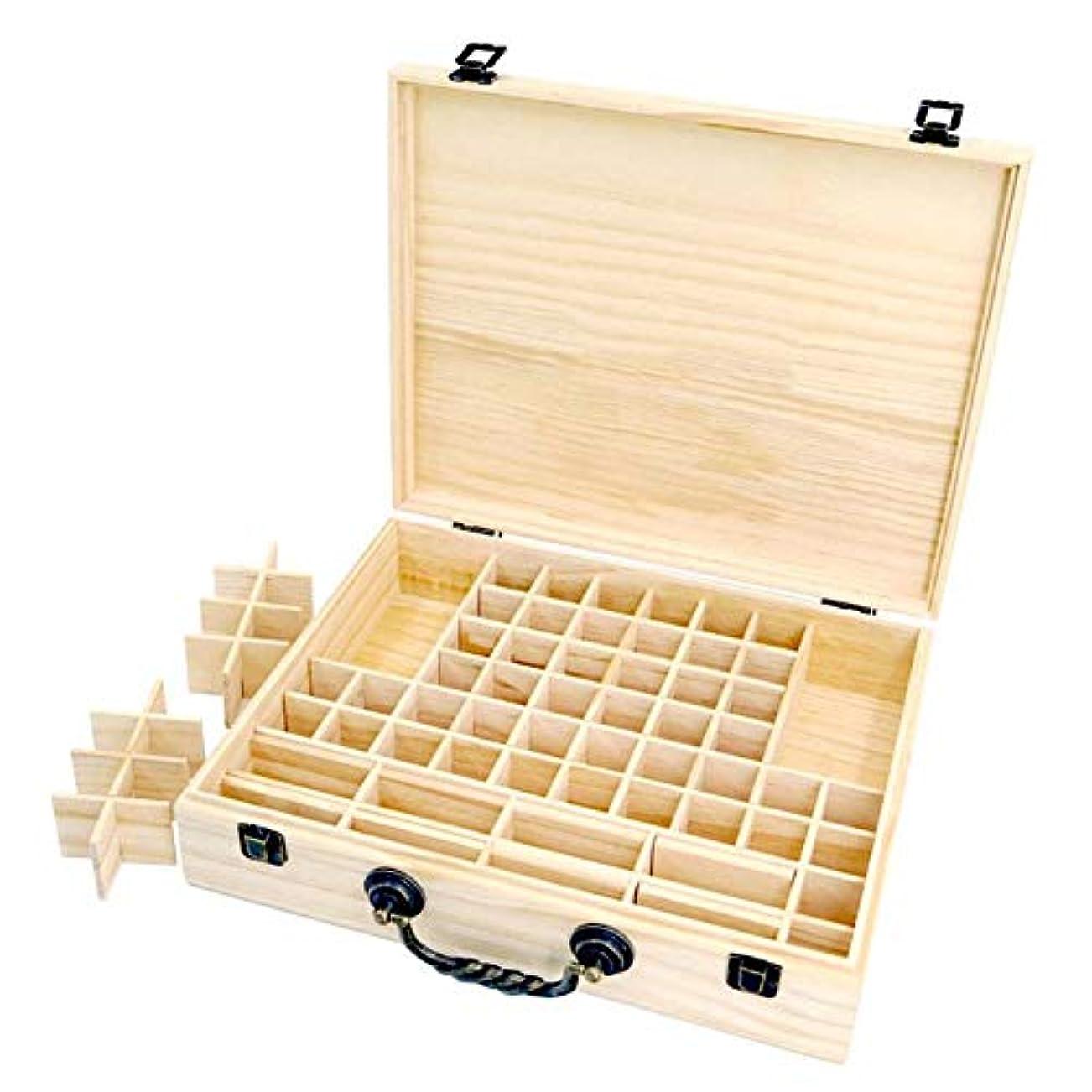 返還租界家畜エッセンシャルオイル収納ボックス 収納ケース 保存ボックス パイン製 取り外し可能なメッシュ 70グリッド 持ち運び便利 junexi