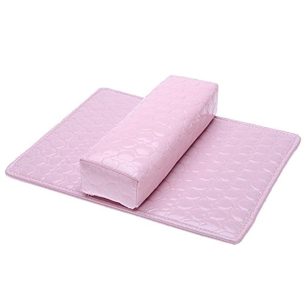 雪の遅い食用ACAMPTAR ソフトハンドクッション枕とパッドレストネイルアートアームレストホルダー マニキュアネイルアートアクセサリー PUレザー ピンク