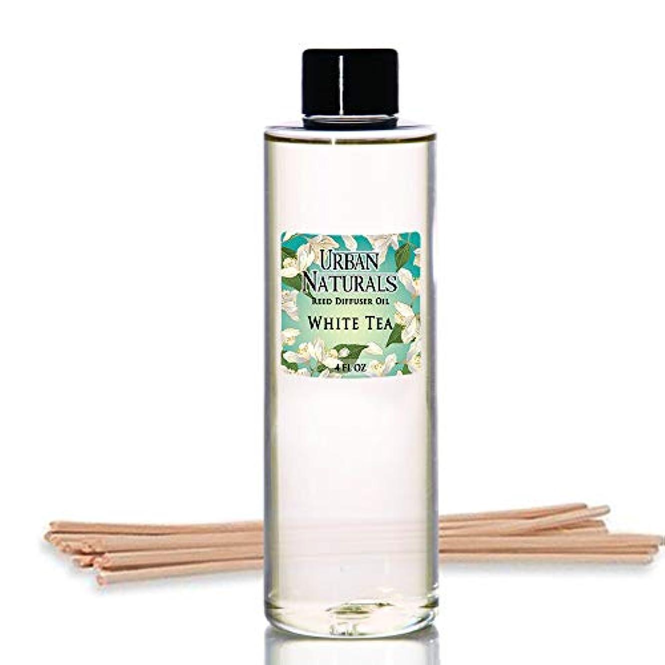 熱帯のドロップくるみUrban Naturals ホワイトティーの香りのオイルリードディフューザー詰め替え リードスティックの無料セット付属 4オンス