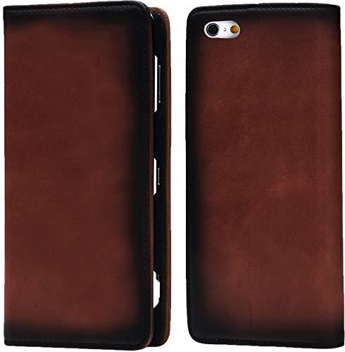 Esperanza 最高級 本革 iPhone6 iPhone6s スマホ ケース 古代ローマ帝国の伝統技法 スフマート製法  硬度 9H 強化 ガラスフィルム セット  アイフォン6 ケース 手帳型 マグネット式 カード ポケット スタンド 機能 付 (iPhone6, クラシックブラウン)