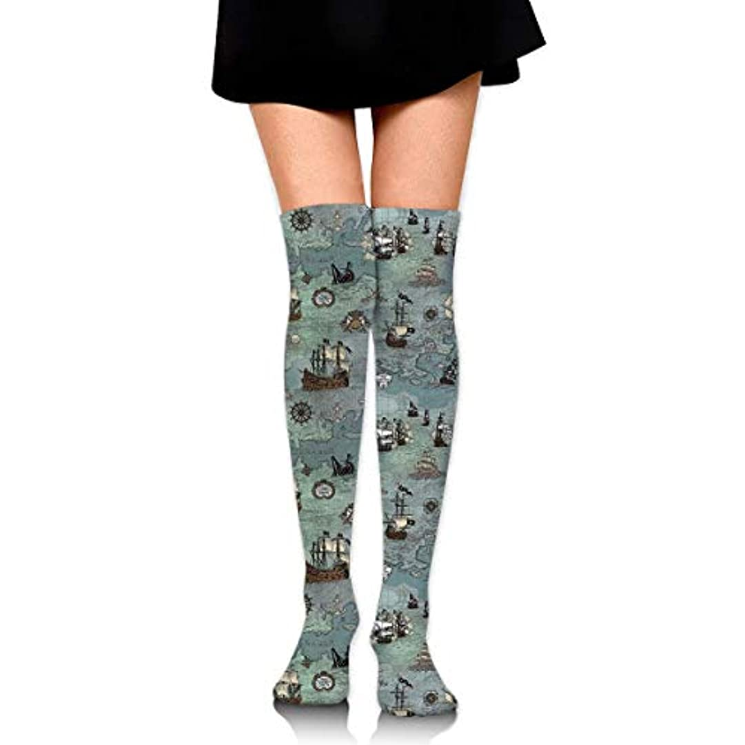 廊下スーダンとげのあるMKLOS 通気性 圧縮ソックス Breathable Extra Long Cotton Thigh High Ship Map Socks Over Exotic Psychedelic Print Compression...