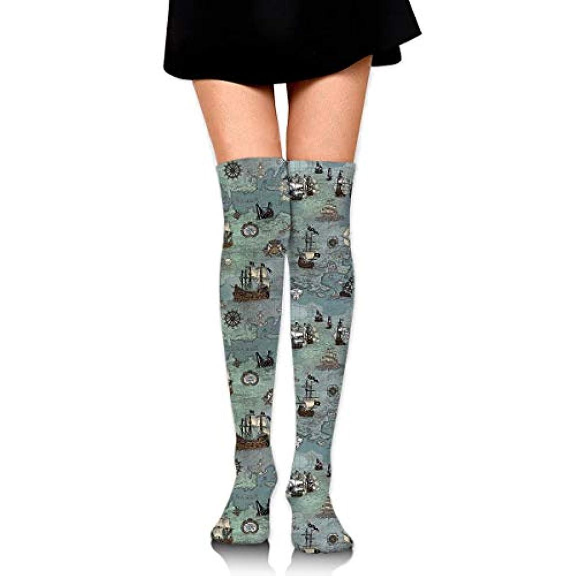 無礼に規定感染するMKLOS 通気性 圧縮ソックス Breathable Extra Long Cotton Thigh High Ship Map Socks Over Exotic Psychedelic Print Compression...