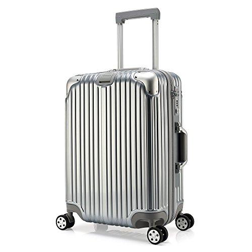 クロース(Kroeus)超軽量スーツケース キャリーケース TSAロック搭載 ファスナー ダブルキャスター 鏡面加工 S型機内持ち込み可 日本語取扱説明書 1年間保証 24 シルバー