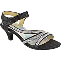 Fashion Thirsty Girls Kids Childrens Party Sandals Diamante Wedding Low Heel Shoes Dance Size