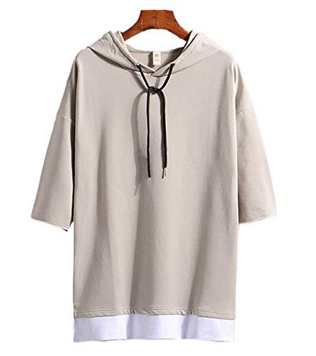 (Make 2 Be) メンズ 7分袖 Tシャツ フード付き ゆったり ドロップショルダー レイヤード カジュアル シャツ プルオーバー MF74 (22.Gray_L)
