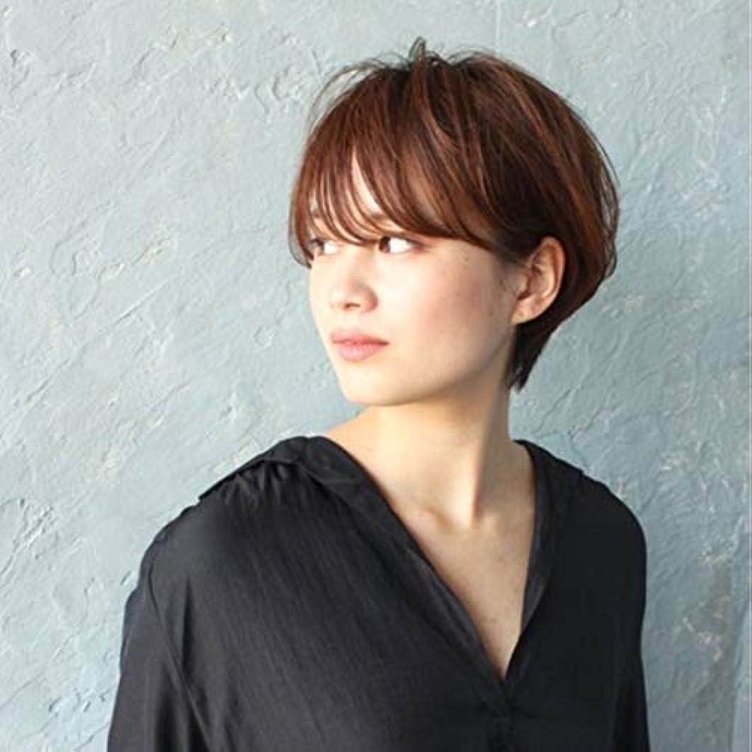 現実的ピクニックとティームKerwinner ウィッグショートヘア斜め前髪ウィッグヘッドギア自然に見える耐熱性女性用 (Color : Light brown)