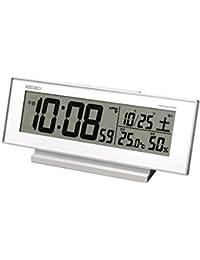 セイコー クロック 目覚まし時計 常時点灯 電波 デジタル カレンダー 温度 湿度 表示 夜でも見える 白 SQ762W SEIKO