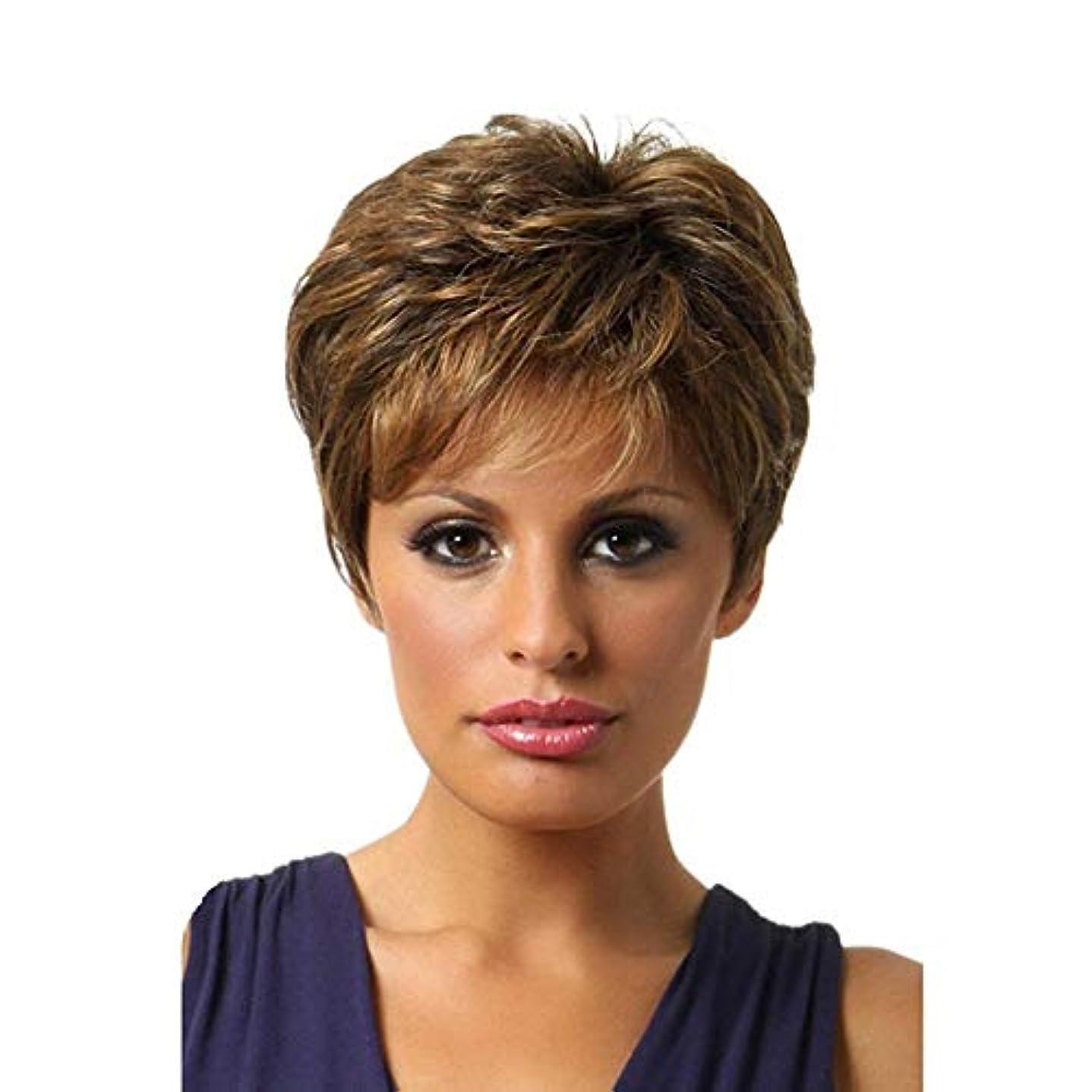 病気だと思う認証阻害するYOUQIU 女性のかつらのためにObique前髪ではブロンドのハイライト髪をショートカーリーヘアウィッグボブ?ブラウン (色 : ブラウン)