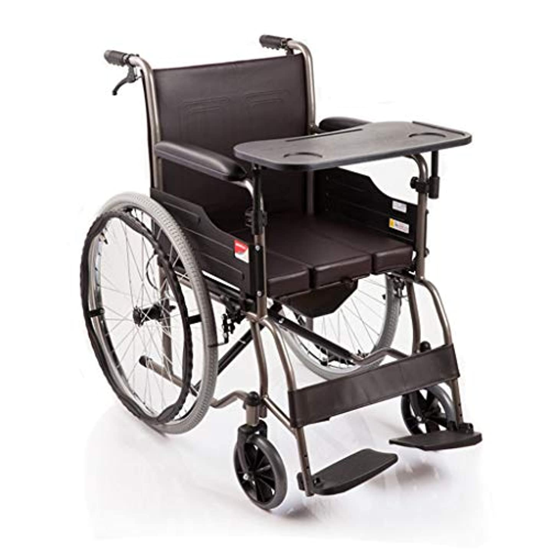 剪断蒸し器露手動車椅子シミュレーションレザーシートクッション、多機能車椅子、高齢者用屋外折りたたみ式トイレデザイン車椅子