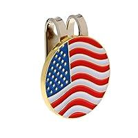 Perfeclan ゴルフ用  アメリカ旗のデザイン マグネット 帽子装飾品 ボールマーカー ハットクリップ付き