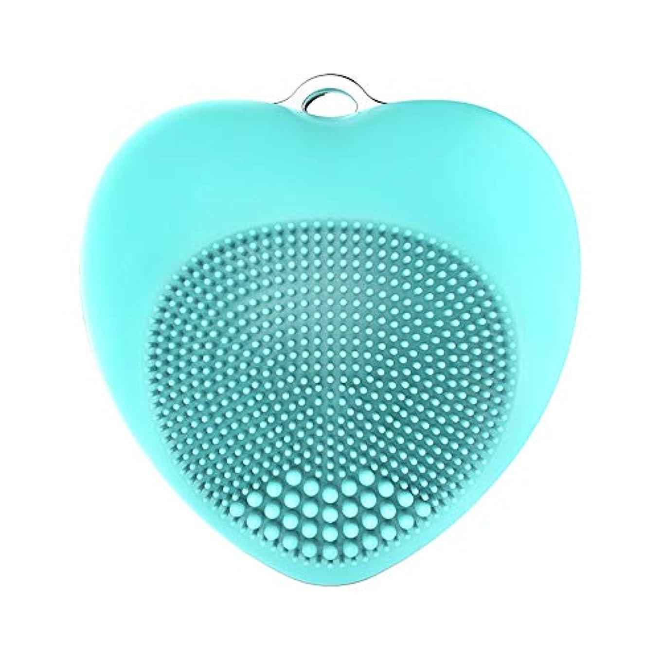 明快ほうき手順LYX 新シリコーンクレンジング器、電気美容機器、毛穴クレンジングブラックヘッドウォッシュブラシ、超音波洗顔マッサージツール (Color : 青)