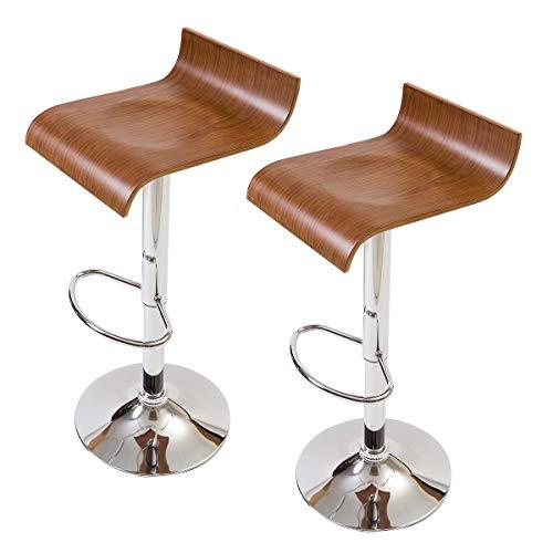 【流れるような大胆な木目使い】 流線形の木製カウンターチェア(お得な2脚セット) 座りやすさにもこだわった曲線デザイン プライウッドの美しいデザイン 座面のくぼみで座りやすい 昇降回転バーチェア (ブラウン色)