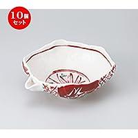 10個セット 志野赤絵片口8.0鉢 [ 24.5 x 19.5 x 8.7cm ]【 多用鉢 】 【 料亭 旅館 和食器 飲食店 業務用 】