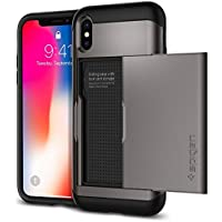 【Spigen】 スマホケース iPhone X ケース 米軍MIL規格取得 耐衝撃 IC カード収納 スリム・アーマー CS 057CS22156 (ガンメタル)