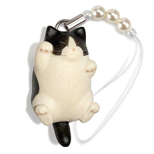 ペットラバーズ 猫どん でぶ猫 黒白 ビーズ ストラップ N-2304