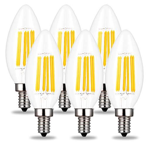 RoomClip商品情報 - C35 シャンデリア電球 60W形相当 E17口金 LED エンジン電球 蝋燭型 6W フィラメント LED電球 E17 60w 電球色 2700k 550lm C35 クリアタイプ 調光器非対応 (6個入り)