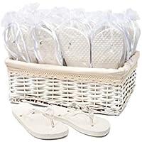 Modo Wedding Party Flip Flops in Wicker Basket - 20 Pairs White