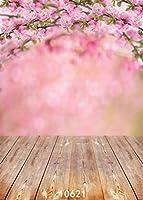 GooEoo 5x7FTビニール写真の背景桃の花と木の床写真背景風景美しい花スタジオ小道具10621