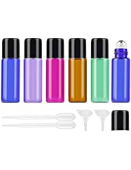 25Pcs 5ml Colored Essential Oil Roller Bottles Vials Glass Cosmetic Travel Containers with Stainless Steel Roller...