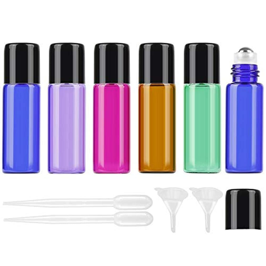 プレゼンテーションヒギンズ若さ25Pcs 5ml Colored Essential Oil Roller Bottles Vials Glass Cosmetic Travel Containers with Stainless Steel Roller...