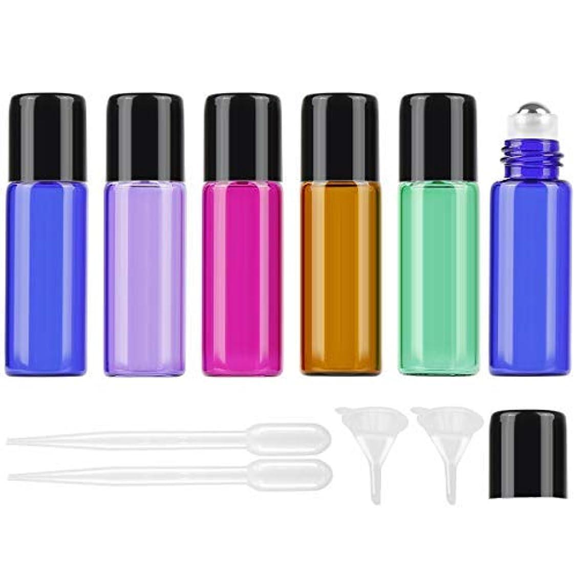 ロータリープロペラ学期25Pcs 5ml Colored Essential Oil Roller Bottles Vials Glass Cosmetic Travel Containers with Stainless Steel Roller...